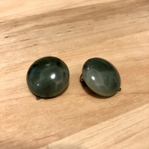 Vintage Clip-On Green Agate Earrings